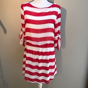 Charming Charlie Red White Stripped Dress Size M